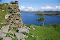 Tirefour Broch and Castle Coeffin from Achnacroish